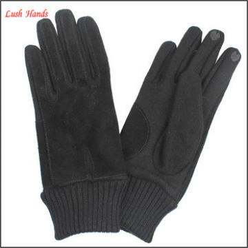 Women's touch cheap leather gloves with pigsude combined wool