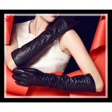 ladies long classic high quality leather gloves with manufactory wholesale price