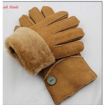 Yellow thick double face winter integration fur gloves for men