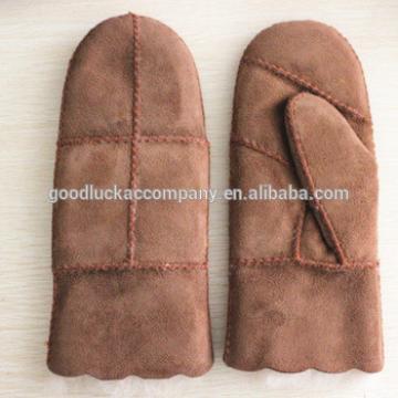 Women mitten double face fur leather gloves factory