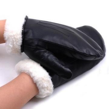 Ladies warm winter wearing shearing lining genuine sheepsin leather mitten glove