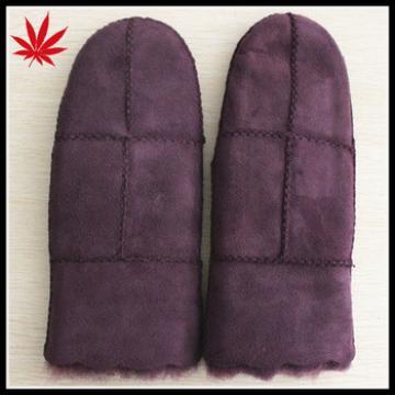 Double face mitten purple sheepskin fur gloves