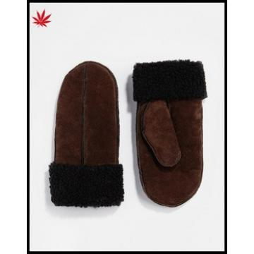 Ladies wholesale red brown winter leather mittens