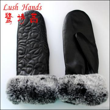 2015 top selling lady's leather mitten with rabbbit fur gloves