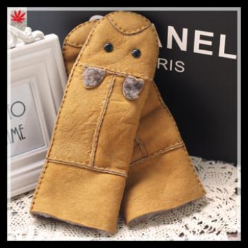 lovely high-quality doubleface integartion fur gloves for girls