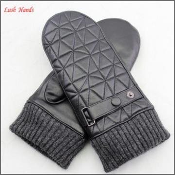 women fashion rabbit fur lining embroidery mitten leather gloves
