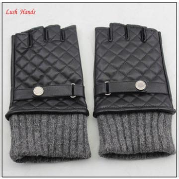 ladies winter fingerless leather gloves with grey knitting cuff