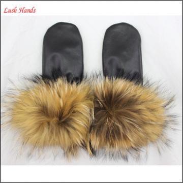 raccoon fur cuff fashion sheepskin leather glove for women