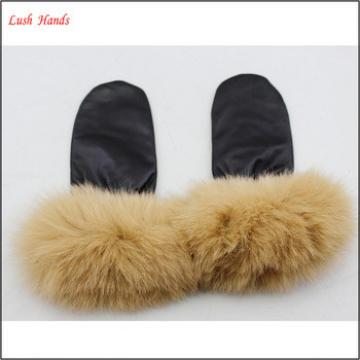 2016 women winter factory gloves wholesale leather mittens gloves with long fur
