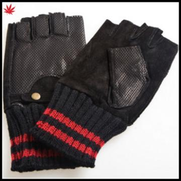 fingerless leather drivng gloves suede back leather palm leather glove knitted cuff