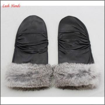 2016 leather mittens gloves sheepskin with grey rabbit fur for women