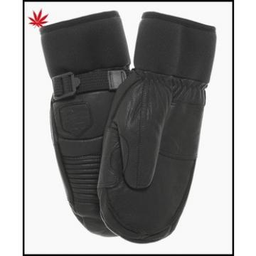 Ladies wholesale winter leather mittens with belt