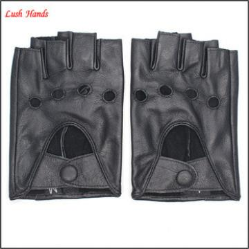 2016 ladies black driving motorcycle leather fingerless gloves