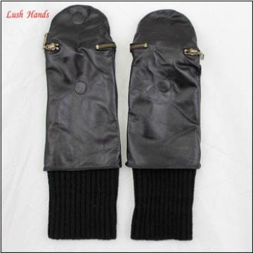 ladies wholesale winter sheepskin leather mitten gloves black