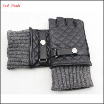 ladies half finger leather driving gloves knitted cuff leather glove