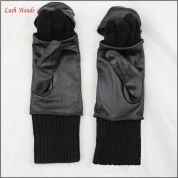 fashion style women mitten glove wool lining leather mitten gloves