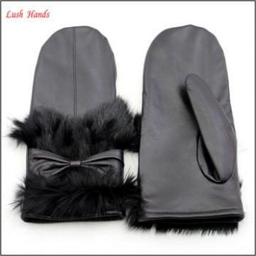 women wearing real rabbit fur warm mitten gloves black leather glove