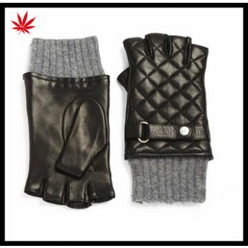 ladies winter fingerless leather gloves with knitting ending and belt