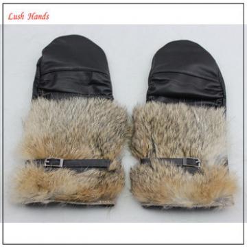 rabbit fur cuff women wearing warm winter mitten gloves genuine leather glove