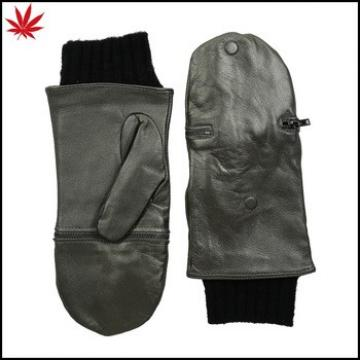 Ladies zipper mitten leather gloves with knit cuff