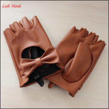 women fashion fingerless driving leather gloves with bowknot