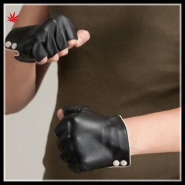 women wearing simple style fingerless leather glove