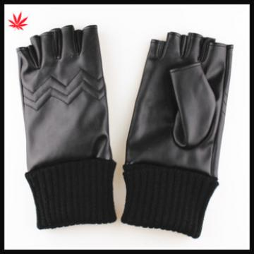 2016 Fashion knitted ending fingerless PU gloves for autumn
