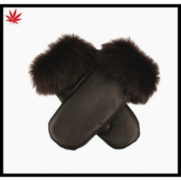 Ladies wholesale leather and fur leather mittens gloves