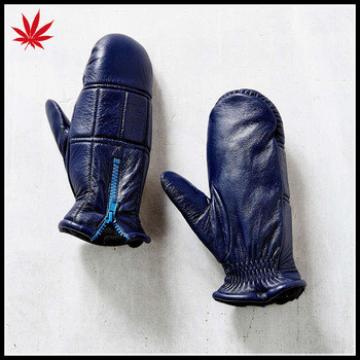 Ladies real leather mitten leather gloves with zipper