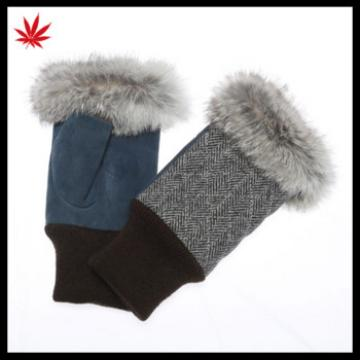women's fashion fingless suede leather gloves with rabbit fur