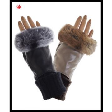 Ladies fingerless rabbit fur genuine leather gloves with knitted cuff