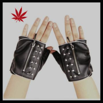 Ladies fashion nappa fingerless sheep leather gloves