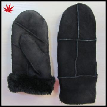 Fashion Lady Leather Mitten Gloves with suede and real fur lining