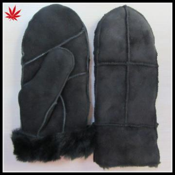 Fashion Lady Leather Mitten Gloves with suede and fake fur lining