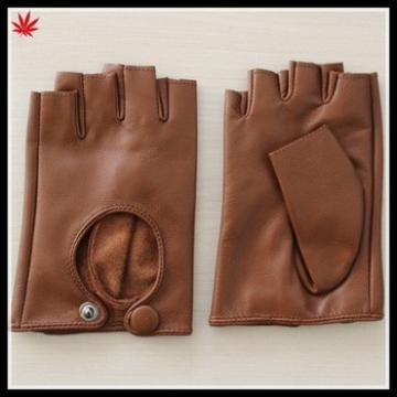 women's camel fashion drving fingerless leather glove