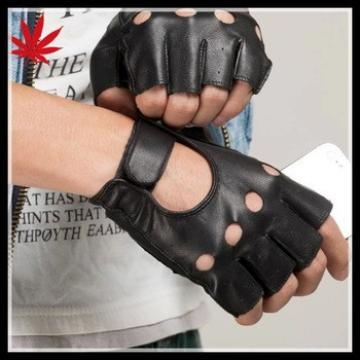 mens fashion leather fingerless gloves driving leather gloves