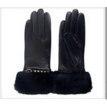 Women's Polyester Lined Hairsheep Leather Gloves with Fur Cuffswith Fur Cuffs