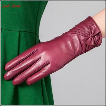 high quality ladies long fashion leather gloves with bow