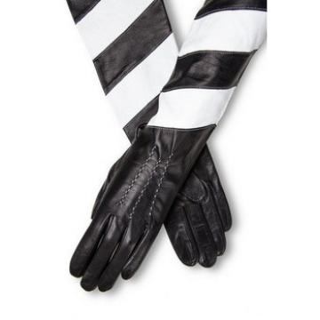Long leather Gloves Black and white Kid Leather opera length leather gloves