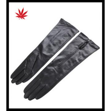 women leather long gloves for ladies with zipper