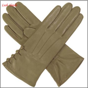 Womens silk lined leather gloves with buttons