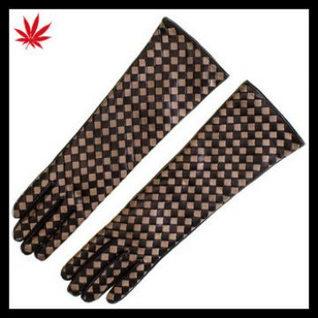Long Black and Taupe Woven Leather Gloves for women