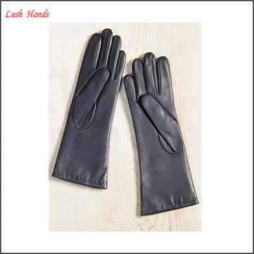Women's fashion style cashmere lining black long leather gloves