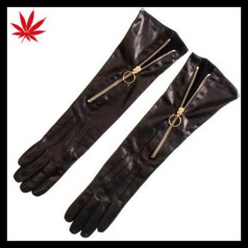 Long Black Leather Gloves with Diagonal Zip for women