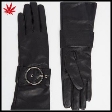 Women's customized black long leather gloves