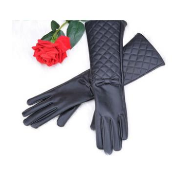 Women long leather gloves new fashion Black Bow leather gloves