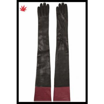women fashion long leather gloves with red ending