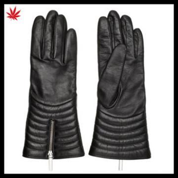 women's biker black wool lined leather gloves with zipper