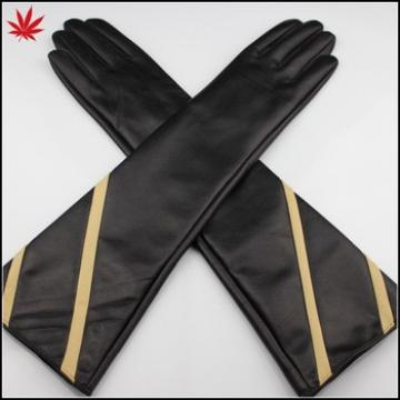 Women long leather gloves silk lining