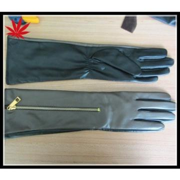 Women's long leather gloves with zipper
